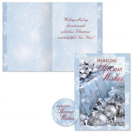 Icy Blue Glamour Christmas Cards -  Nonpersonalized