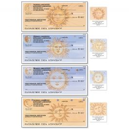 Sun and Moon Personal Single Checks With Matching Address Labels