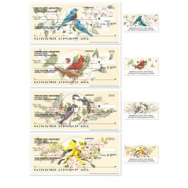 Birds & Blossoms Personal Single Checks With Matching Address Labels