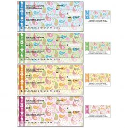 Pretty Posies Single Checks With Matching Address Labels