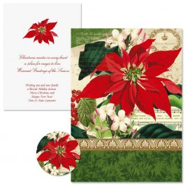 Winter Joy Poinsettia Christmas Cards -  Personalized