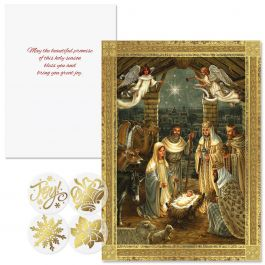 Golden Nativity Foil Christmas Cards - Nonpersonalized