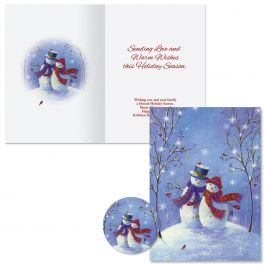 Snowy Snuggles Christmas Cards -  Personalized