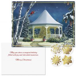 Shining Brightly Foil Christmas Cards  - Nonpersonalized