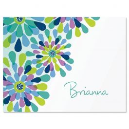 Fresh Blooms Personalized Note Cards - Set of 12