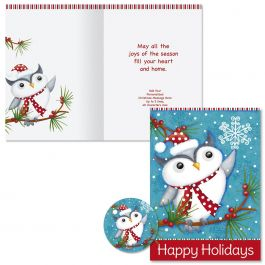 Happy Holiday Owl Christmas Cards -  Personalized