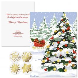 White Christmas Foil Christmas Cards -  Personalized
