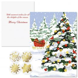 White Christmas Foil Christmas Cards -  Nonpersonalized