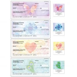 Bright Watercolors Duplicate Checks with Matching Address Labels