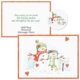 Peace Snowmen  Christmas Cards -  Personalized
