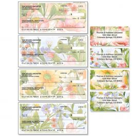 Watercolor Garden Single Checks with Matching Address Labels