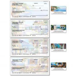 Seaside Retreat Single Checks with Matching Address Labels