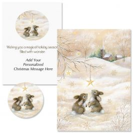 Snow Bunnies Christmas Cards - Personalized