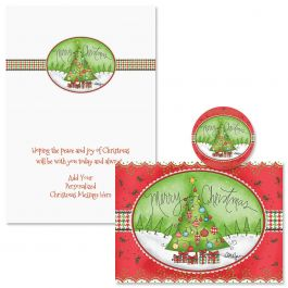 Holiday Houndstooth Christmas Cards - Personalized