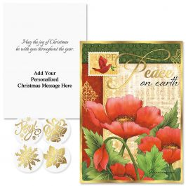 Peaceful Petals Foil Christmas Cards - Personalized