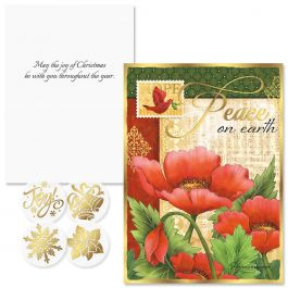 Peaceful Petals Foil Christmas Cards - Nonpersonalized