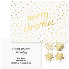 Golden Dots Christmas Cards - Personalized