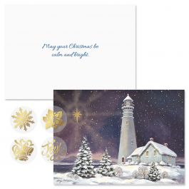 December Light Foil Christmas Cards - Personalized