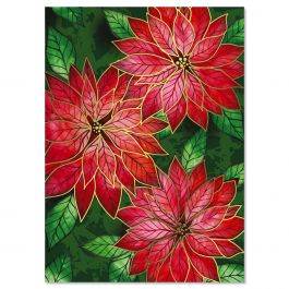 Poinsettia Charm Foil Christmas Cards - Personalized