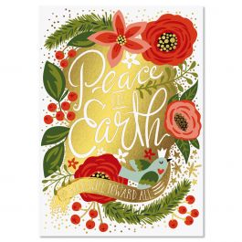 Peace on Earth Foil Christmas Cards - Personalized