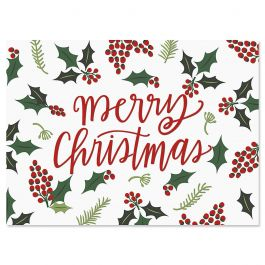 Berry Border Christmas Cards - Personalized