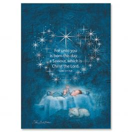Star Heart Nativity Foil Christmas Cards - Personalized