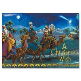 3 Kings & Holy Family Foil Christmas Cards - Personalized