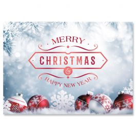 Frosted Holiday Foil Christmas Cards - Nonpersonalized