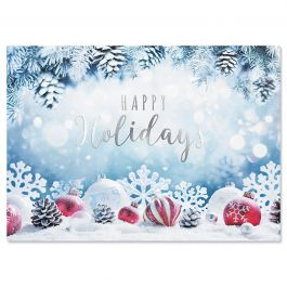 Snowy Fir Christmas Cards - Personalized