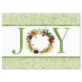 Joy Wreath Christmas Cards - Personalized