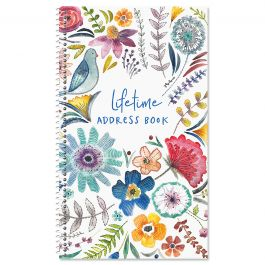 Embroidered Florals Lifetime Address Book