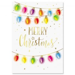 Foil Lights Christmas Cards - Nonpersonalized