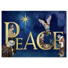 Peace Nativity Foil Christmas Cards - Personalized