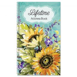 Watercolor Sunflower Lifetime Address Book
