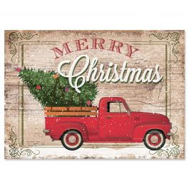 Red Trucks Christmas Cards - Personalized