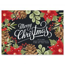 Poinsettia Border Christmas Cards - Nonpersonalized