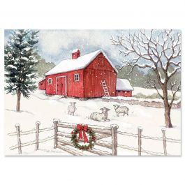 Country Barn Christmas Cards - Personalized