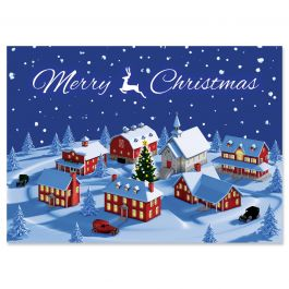 Christmas Town Christmas Cards - Personalized