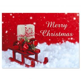 Holiday Sled Christmas Cards - Personalized
