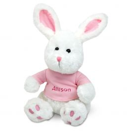 Plush Bunny with Personalized Pink T-Shirt