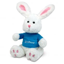 Plush Bunny with Personalized Blue T-Shirt