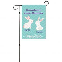 Custom Love Bunnies Garden Flag - 2 Names