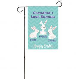 Custom Love Bunnies Garden Flag - 3 Names