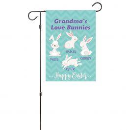 Custom Love Bunnies Garden Flag - 4 Names