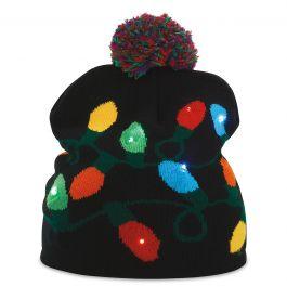 Black String of Lights Knit Cap