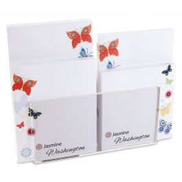 Delicate Butterflies Custom Memo Pad Set & Acrylic Holder