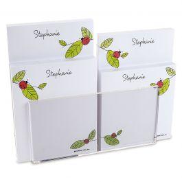 Ladybugs Custom Memo Pad Set & Acrylic Holder