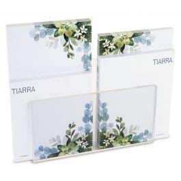 Olive Bloom Custom Memo Pad Set & Acrylic Holder