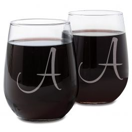 Custom Stemless Wine Glass with Initial