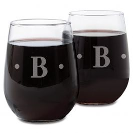 Custom Stemless Wine Glass with Initial